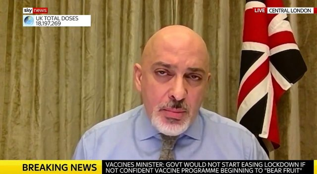 Vaccines minister Nadhim Zahawi stressed today that the relaxation of lockdown must be 'gradual'