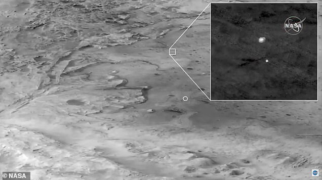 NASA's Mars Reconnaissance orbiter also captured amazing images of Perseverance, showing it attached to the sonic parachute moments after shooting through the Martian atmosphere like a comet