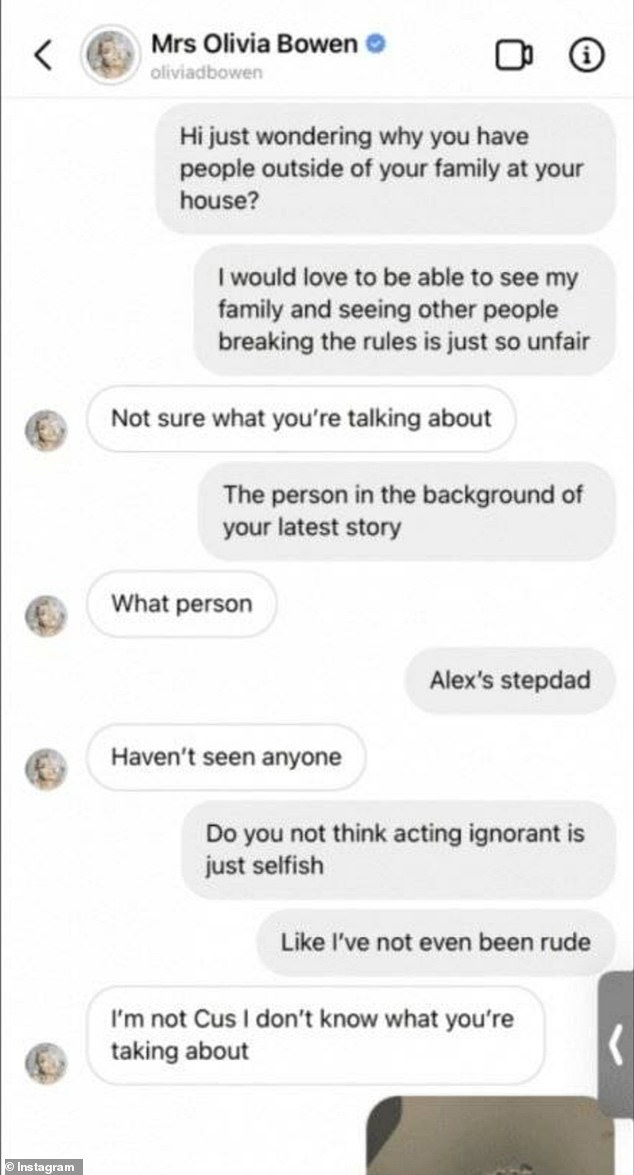 'What person?': Olivia played dumb when an upset fan contacted her about a family member outside of her household appearing to be at the couple's Essex mansion on Sunday