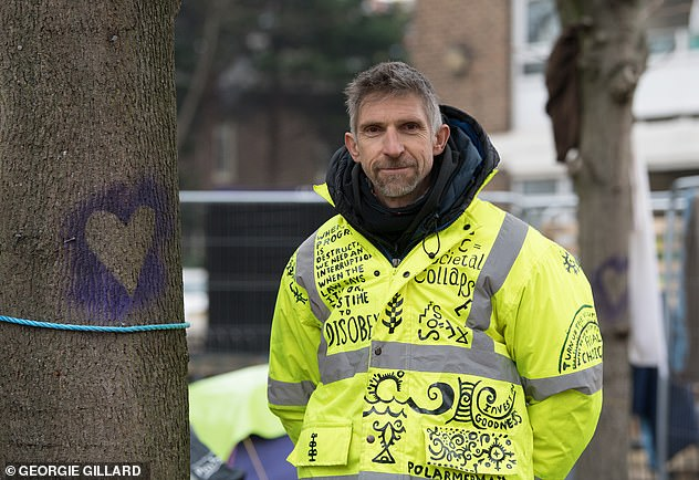Dr Maxey protest against trees from being cut down to make way for a housing development