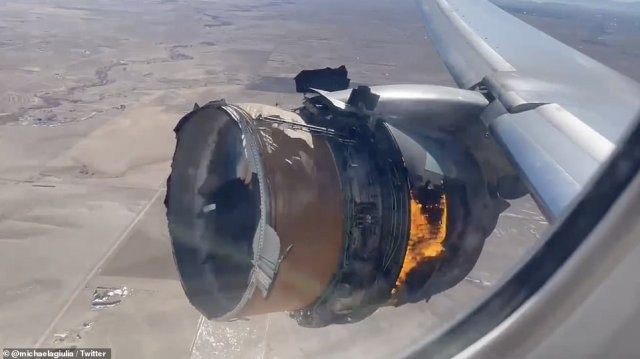 Video recorded by passengers aboard Flight UA328, which was carrying 231 travelers and 10 crew members, shows the engine on fire
