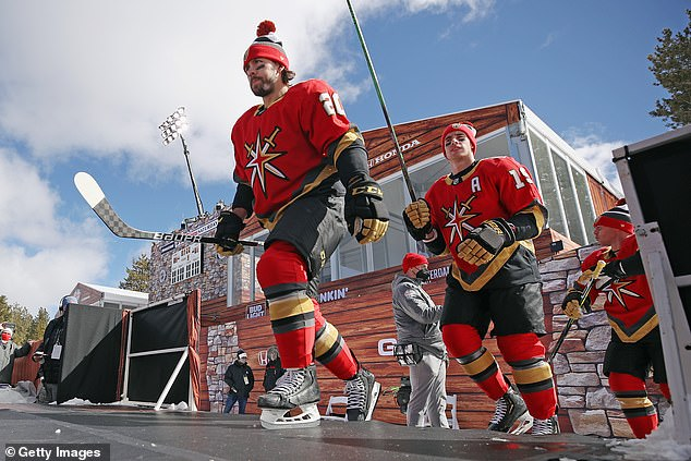 Golden Knights teammates Chandler Stephenson and Reilly Smith head out for warm-ups