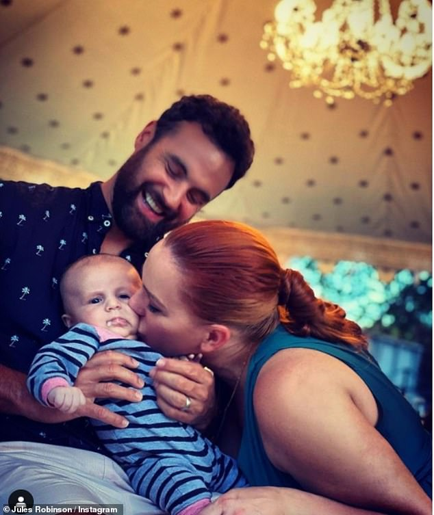 Happy families: The happy couple are now parents to baby Ollie