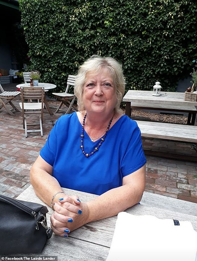 Margaret Wares, 70, (pictured) has died after attempting to rescue her 16-year-old Jackadoodle called Dizzee afetr he fell into the fast-flowing Dighty Burn river in Monifieth, Angus, Scotland, on Wednesday evening
