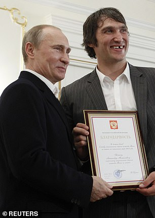 Vladimiri Putin (left) pictured with Washington Capitals star Alexander Ovechkin (right). Unlike Ovechkin, Panarin has been critical of Putin, and recently post a picture on Instagram in support of opposition leader Alexei Navalny