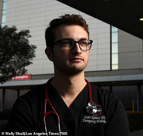 Dr. Scott Kobner outside L.A. County-USC Medical Center in Boyle Heights
