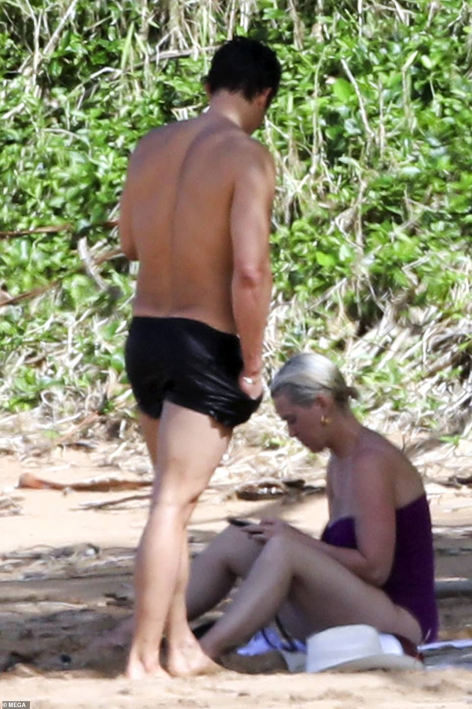 Leggy: The British hunk's swimming shorts left very little to the imagination