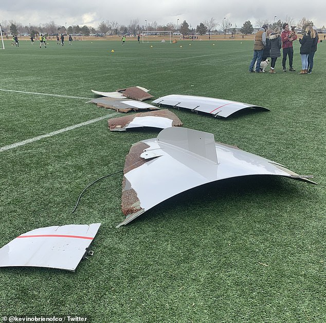 DENVER: Pieces of the aircraft landed on a football field as seen in the above image posted to Twitter by a local resident in Broomfield
