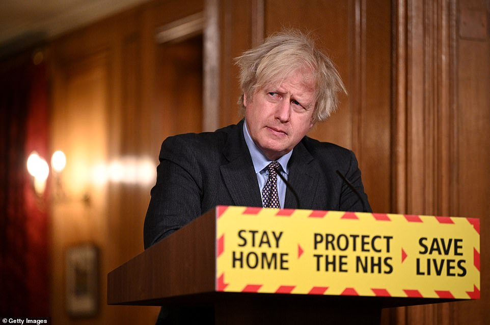 Prime Minister Boris Johnson during a televised press conference at Downing Street on February 22, 2021