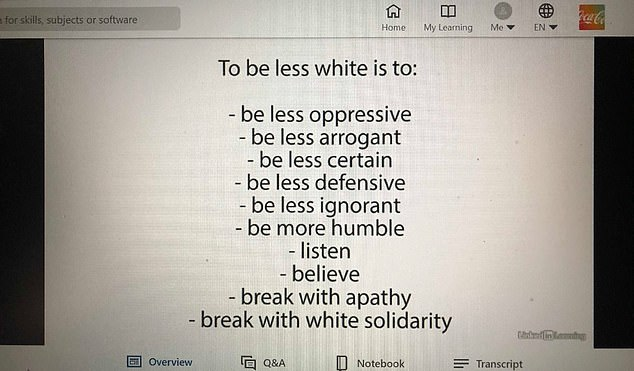 The slides appear to come from an 11-minute video titled 'Confronting Racism with Robin DiAngelo'. One slide claims that whiteness is associated with arrogance, defensiveness, ignorance and a lack of humility