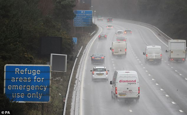 Following a review last March, Mr Shapps said the refuges – where vehicles can pull in during an accident or breakdown – should be between three quarters of a mile and a mile apart. Picture: Stock