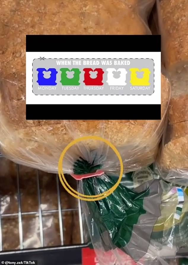 The coloured tags represent the day the bread was baked, with blue for Monday, green for Tuesday, red for Thursday (pictured), white for Friday and so on