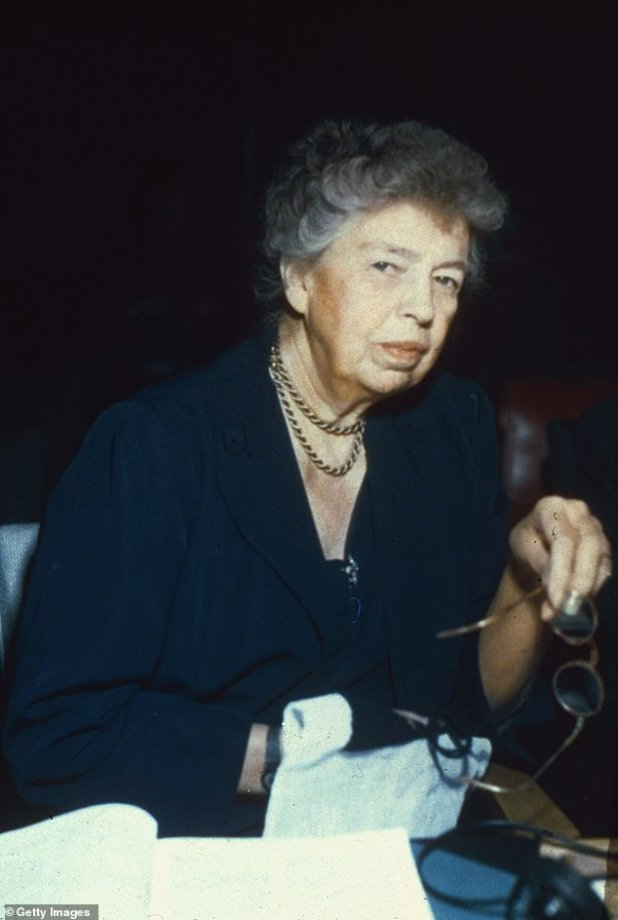 Icon: Eleanor, the wife of President Franklin D. Roosevelt, was the First Lady of the United States from 1933 to 1945, making her the longest serving First Lady in history (pictured 1962) .