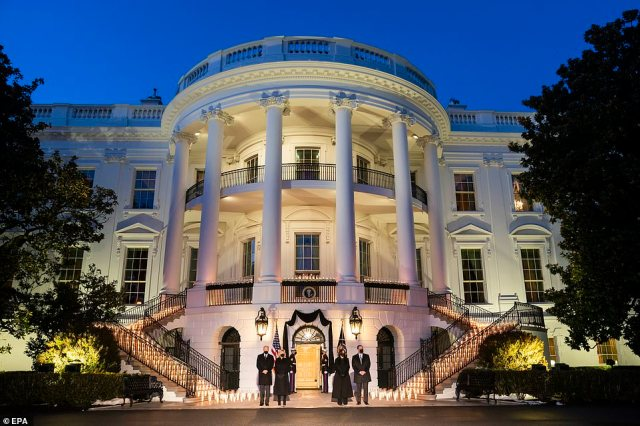 Illuminated: The candles were used to light up the stairs of the South Portico of the White House