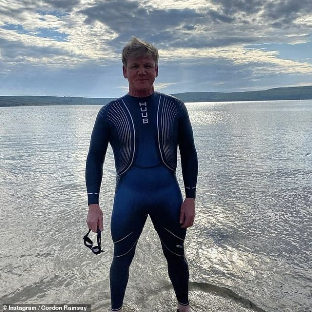 Busy Man: In addition to staying active in the confinement, Gordon has been preparing for the launch of his new game show Bank Balance (pictured after a dip in the sea last summer)