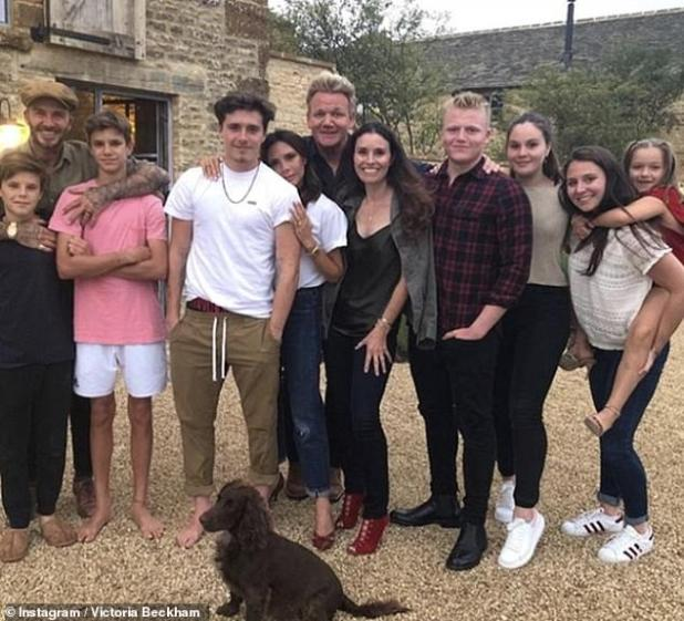 Friends: Singing the cooking and baking praises of his friend David, Gordon also revealed that he has talked about doing a food show with the former footballer (Ramsay and Beckham's offspring are shown together in 2018)