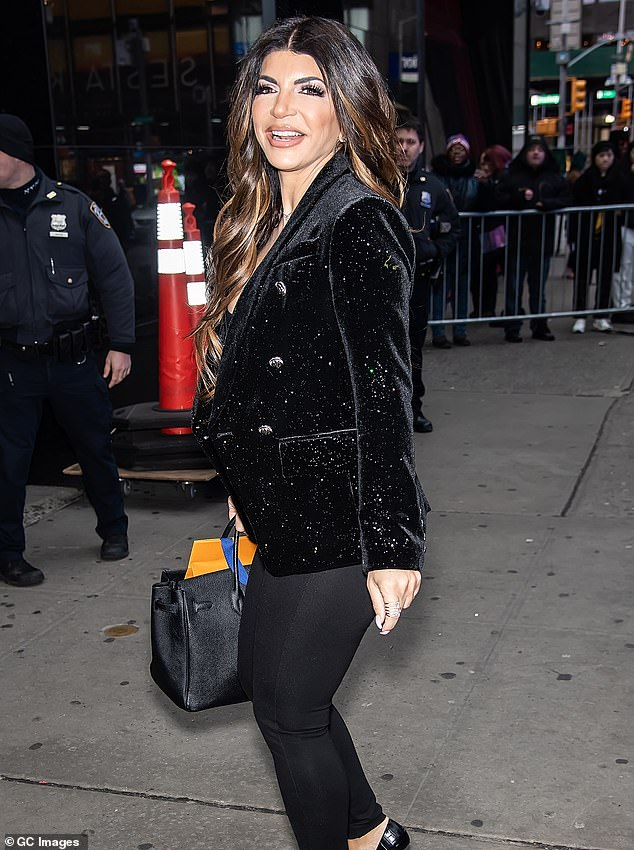 Cheating rumor:The 48-year-old reality star, shown in February 2020 in New York City, during the season premiere last week of RHONJ spread a baseless rumor she 'heard' that Jackie Goldscheider's husband Evan cheated on her at his gym