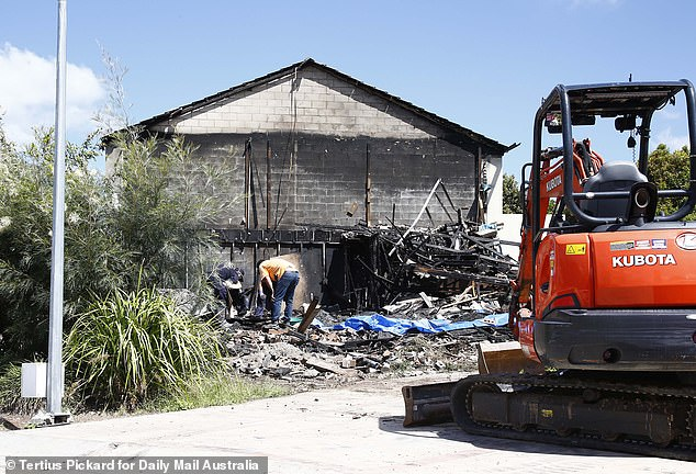 The house was reduced to rubble, while the neighbouring property was significantly damaged as well (pictured)
