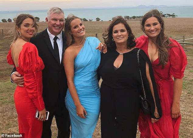 Danny Frawley (second from the left with his family), AFL great turned media personality, died after his car slammed into a tree near Ballarat, Victoria, just one day after his 56th birthday on September 9, 2019