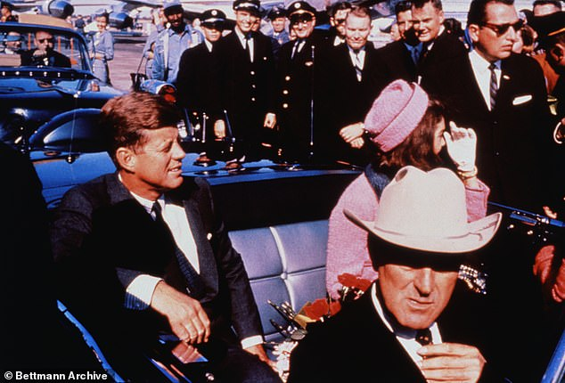 Kennedy is pictured beside his wife Jackie, shortly before his death on November 22, 1963