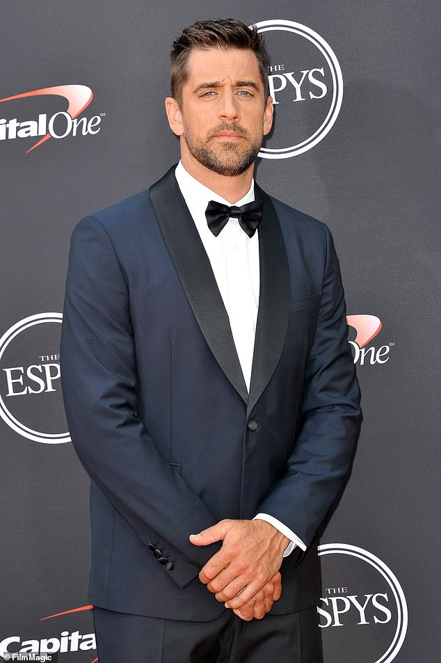 NFL star: Aaron, shown in July 2018 in Los Angeles, plays quarterback for the Green Bay Packers