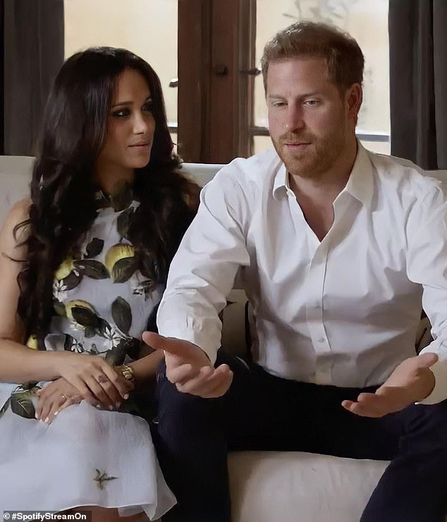 'Dominant' Prince Harry, 36, looked 'a lot more US' while 'demure' Meghan Markle , 39,'took on a softer role' in their first joint appearance since quitting the royal family, Judi James told FEMAIL