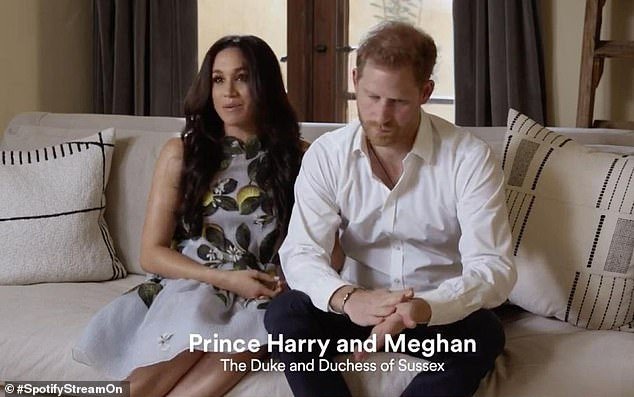 The Duchess of Sussex, 39, appeared alongside the Duke, 36, in a 20-second video to plug their Archewell Audio podcast at a Spotify live stream event broadcast today