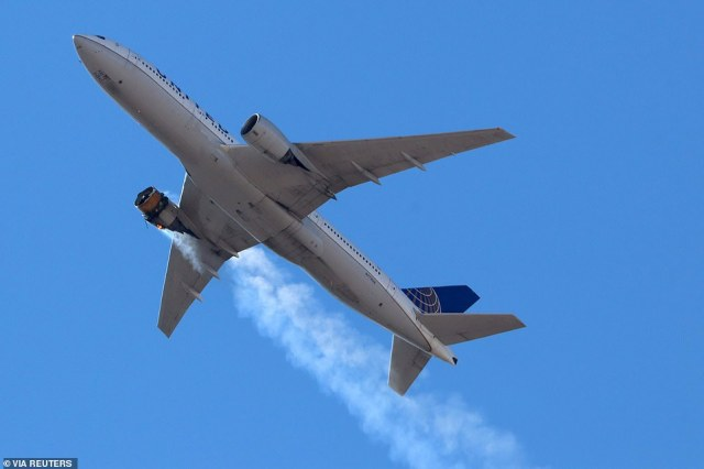 Mid-air panic: United Airlines Flight 328 on its way back to Denver International Airport on Saturday with its starboard engine on fire following the explosion shortly after takeoff