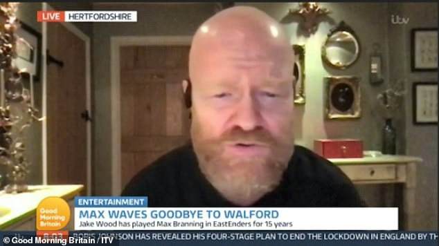 Amused:Jake, who sported a bushy beard quite unlike what viewers will be used to seeing him have, joked his 'wife hates' his facial hair