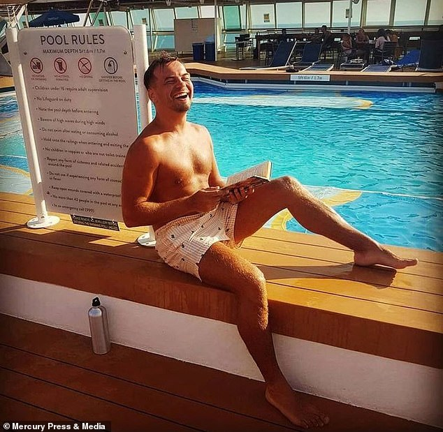 Bethany said: 'I've asked Max before if he would have approached me if the passengers had been on board but he just doesn't know' (Max is pictured by the pool on the cruise ship)