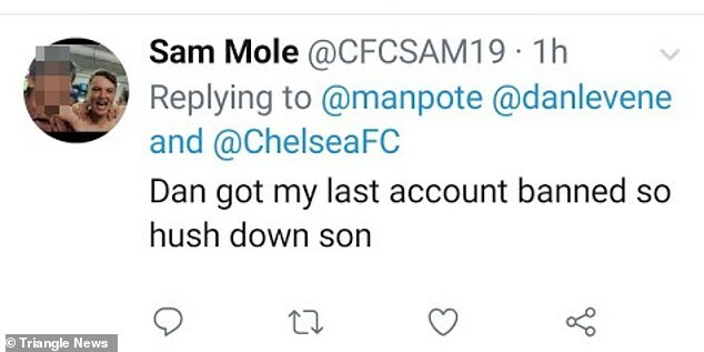 Chelsea fan Mole described himself online as a 'coke-sniffing apprentice tommy boy' on his now deleted Twitter account (pictured)
