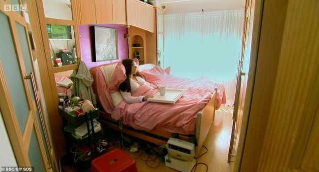 Viewers of DIY SOS: The Big Build were left sobbing last night after disabled mother-of-twoMandy McCreight, from Bangor, trapped in her bedroom was set free by an incredible home transformation (pictured, her bedroom before)