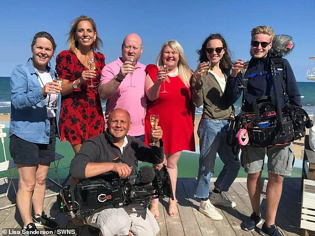 Lisa, who weighed17 st 2lbs at her heaviest, revealed her weight ballooned after being given the all-clear from cancer. Pictured: Paul and Lisa (centre) with the film crew for A Place In The Sun