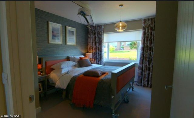 Nick Knowles and his team of builders transformed the home in just nine days, widening corridors and installing a lift in order to make the property accessible for Mandy and her family (pictured, the master bedroom after its transformation)