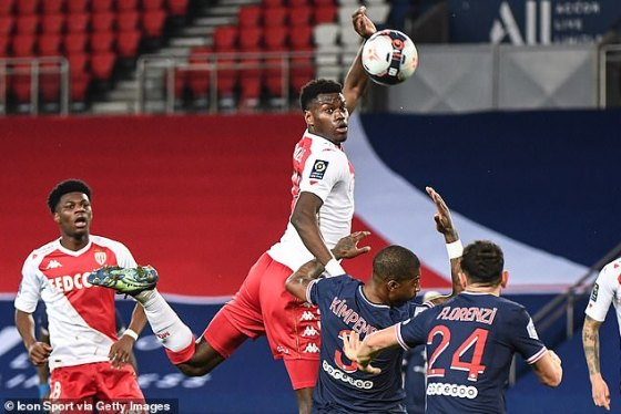 Badiashile played 90 minutes on Sunday night in Monaco's victory over PSG Champions League 1
