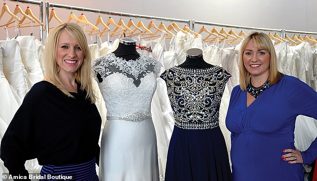Amy, the owner of Amica Bridal Boutique (pictured), has been inundated with brides contacting them to book appointments to try on dresses or to have their wedding dress altered ready for the big day they've been waiting for