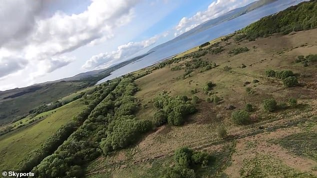 Skyports found that their technology cut the time it takes to get the kits between Oban and the Isle of Mull from about 45 minutes by ferry to just 15 minutes by drone. Pictured, drone camera footage