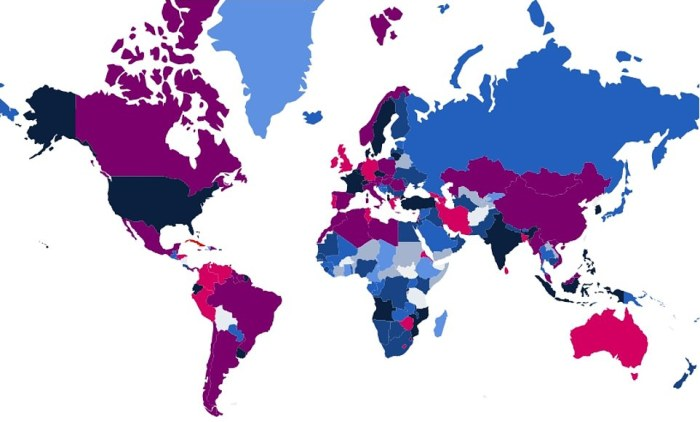 This map shows how lockdown rules differed between countries on February 17, with darker colours indicating harsher rules. Light blue shows a score up to 39.9 out of 100 - the least oppressive measures -, and dark blue shows from 40 to 59.9. Black shows between 60 and 69.9, purple shows between 70 to 79.9. The harshest rules are indicated by pink and red, showing countries scoring more than 80 in the analysis