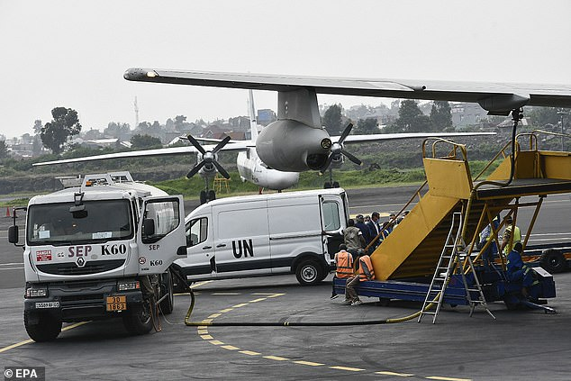 Pictured:A coffin is loaded onto an Italian Air Force plane at Goma airport during the repatriation of the bodies of Italian Ambassador and an Italian Carabinieri police officer in Goma, Democratic Republic of Congo, 23 February 2021