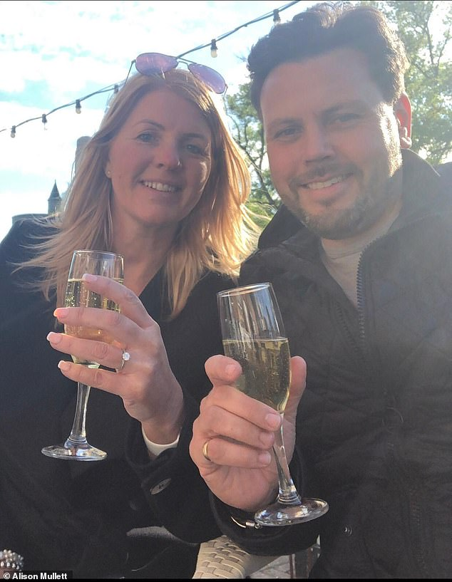 Alison (pictured, with Glenn) says she resumed wedding planning 'straight away' - adding: ' We had a bottle of pink Lanson champagne ready to go in the hope we would be happy with the news, which we opened straight away!'
