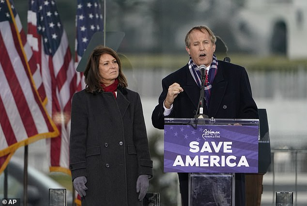 Texas AG Ken Paxton and his wife Angela are seen at Trump's infamous January 6 rally in Washington DC. The couple were in Utah last week during part of the historic blackout