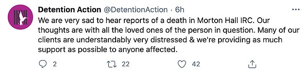 Detention Action, a charity which supports those in immigration detention, claimed the incident has left other detainees 'very distressed'