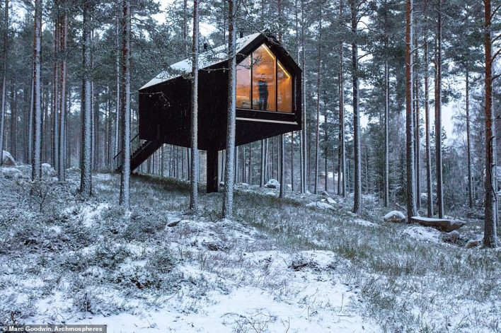 Thechic black-painted cabin near the Salamajarvi National Park in Finland, which is elevated off the ground on a single column