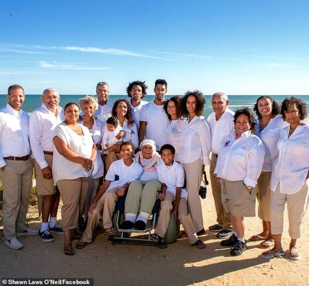 Now, having eliminated the virus, DeClerck has earned a new nickname from his two surviving children, five grandchildren, 12 great-grandchildren, and 11 great-great-grandchildren: `` The 105-year-old tough guy who kicked Covid '' (DeClerck shown in the center with family members)