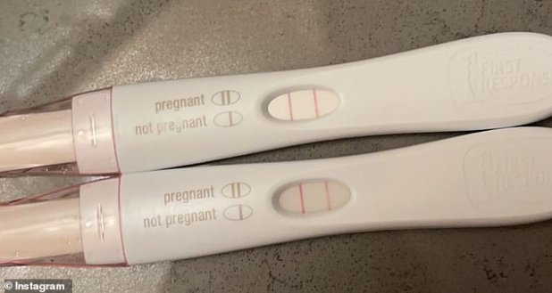 Double verification: The 19-year-old revealed the news on her Instagram account, posting this photo of two positive pregnancy tests.