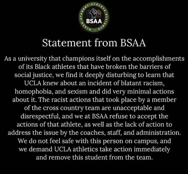 UCLA's Black Student-Athlete Alliance criticized the school for not firing Weiland sooner