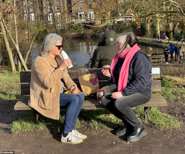 Coffee catch-ups in the park and outdoor sport remains banned until March - but nevertheless took place amid the good weather