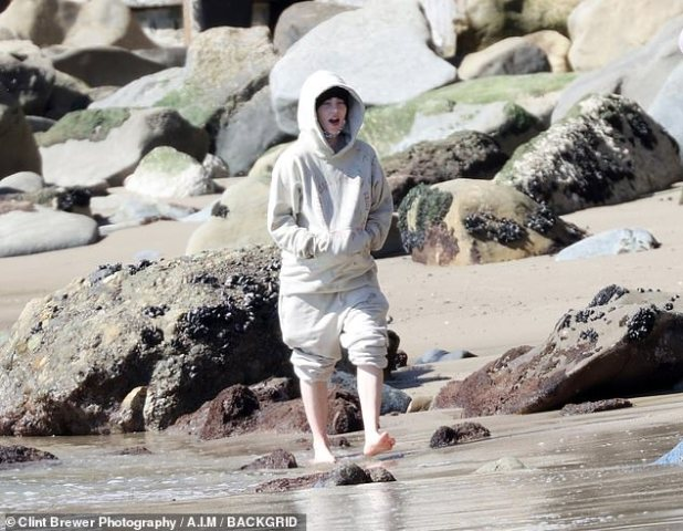 R&R: Billie Eilish, 19, spent a nice day on the beach in Malibu with her producer and brother Finneas O'Connell and their family pit bulls on Sunday.