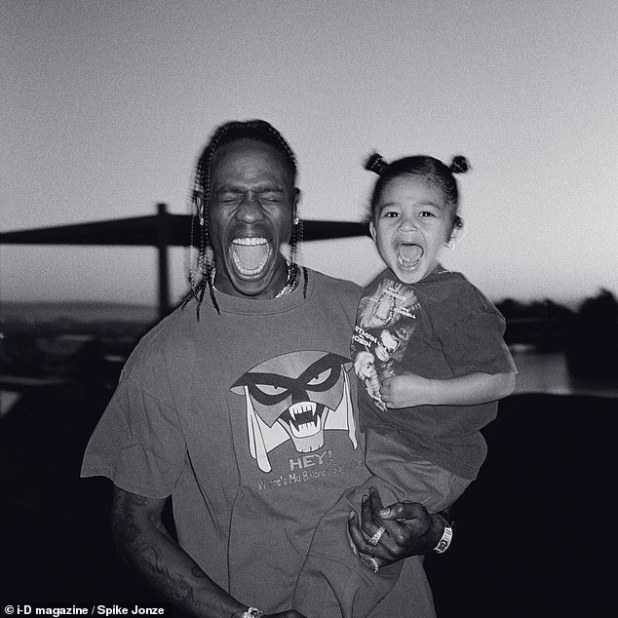 Happy place: Travis Scott invited director Spike Jonze to spend a day with him and his daughter Stormi, offering an intimate look at their life for the Utopia issue of iD magazine.