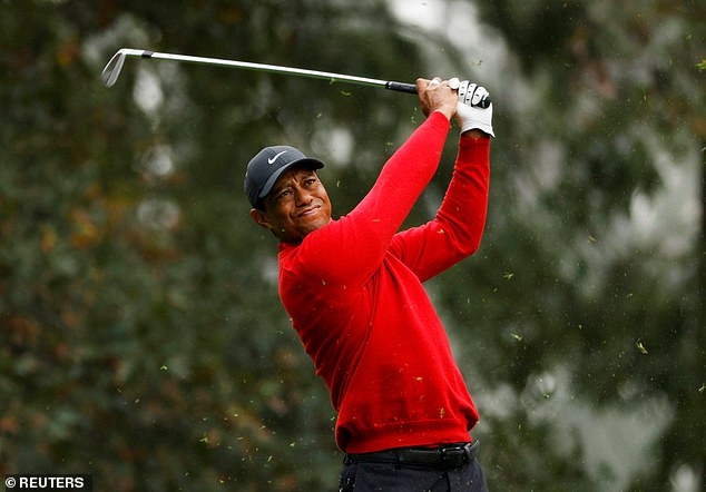 Tiger Woods of the U.S. on the 4th hole during the final round of the 2020 Masters